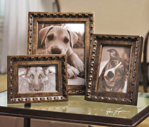 Kalya Antiqued Bronze Photo Frames, Set of 3 - Innovations Designer Home Decor