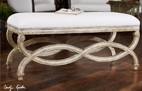 Karline Hand Carved Natural Linen Bench - Innovations Designer Home Decor