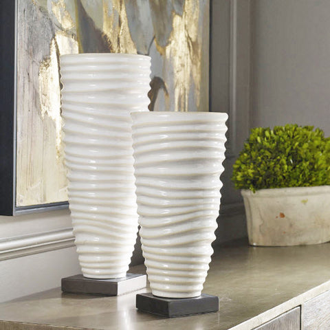 Kiera Aged Off-white Ribbed Vases - Innovations Designer Home Decor