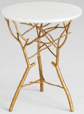 Langley Round Gold Leaf & White Granite Twig Accent Table - Innovations Designer Home Decor