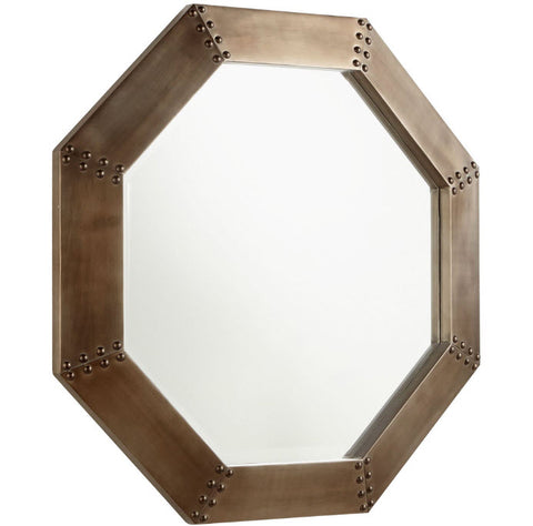 Octagon Large Burnished Silver Wall Mirror - Innovations Designer Home Decor