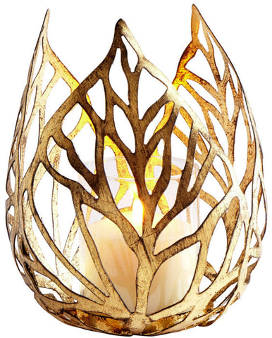 Large Sunrise Flame Antique Gold Candleholder - Innovations Designer Home Decor