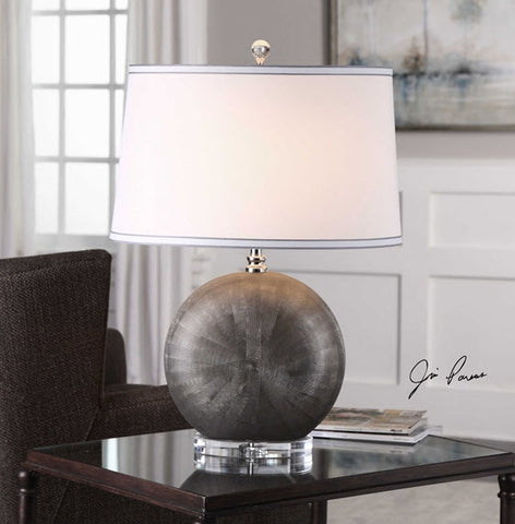 Liadan Antiqued Silver Ceramic Orb Table Lamp - Innovations Designer Home Decor