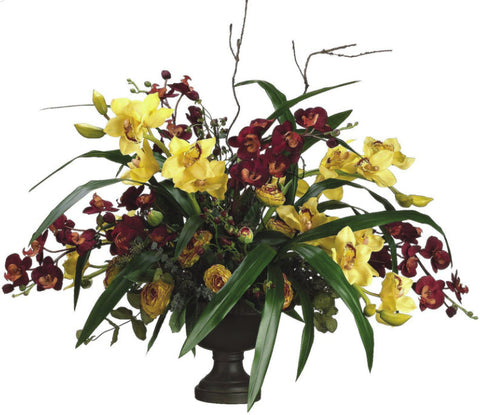 Lifelike Burgundy & Golden Yellow Orchid Floral Arrangement - Innovations Designer Home Decor