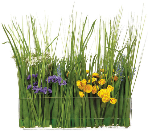 Lifelike Colorful Flowers & Grass Floral Arrangement - Innovations Designer Home Decor
