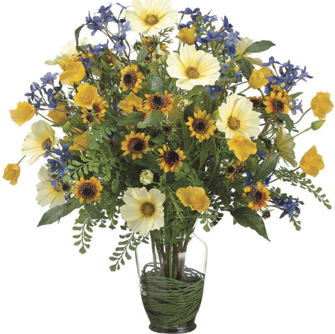 Lifelike Cosmos, Poppies & Sunflowers floral Arrangement - Innovations Designer Home Decor