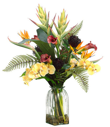 Lifelike Heliconia, Phalaenopsis Orchid & Calla Lily Floral Arrangement - Innovations Designer Home Decor