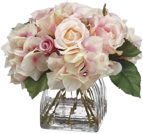 Lifelike Hydrangea & Rose Floral Arrangement - Innovations Designer Home Decor