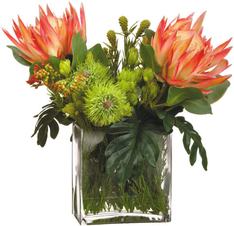 Lifelike Orange Protea and Mixed Floral Arrangement - Innovations Designer Home Decor