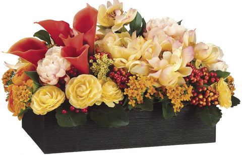 Lifelike Peonies, Protea, Ranunculi & Calla Lilies in a Bamboo Tray - Innovations Designer Home Decor