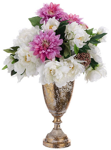 Lifelike Peony, Dahlia & Sedum Floral Arrangement - Innovations Designer Home Decor