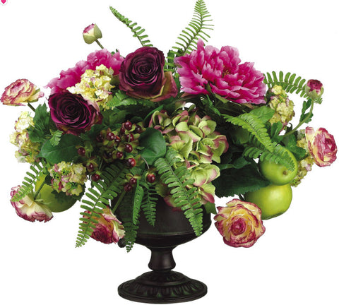 Lifelike Peony, Rose & Apple Floral Arrangement in a Decorative Urn - Innovations Designer Home Decor