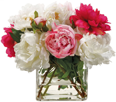 Lifelike Pink, Red, and White Peony Floral Arrangement - Innovations Designer Home Decor