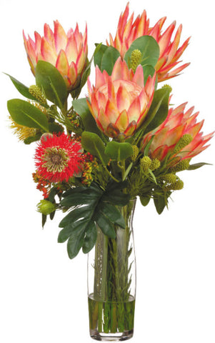 Lifelike Protea and Pincushion Floral Arrangement in Glass Vase - Innovations Designer Home Decor