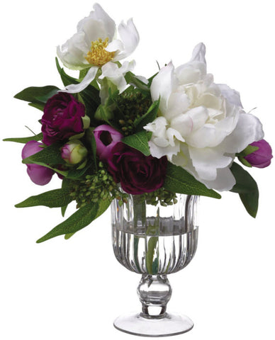 Lifelike Ranunculus and Peony Floral Arrangement - Innovations Designer Home Decor