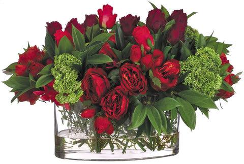 Lifelike Red Rose and Dahlia Floral Arrangement - Innovations Designer Home Decor