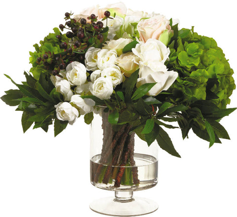 Lifelike White & Blush Ranunculus and Rose Floral Arrangement - Innovations Designer Home Decor