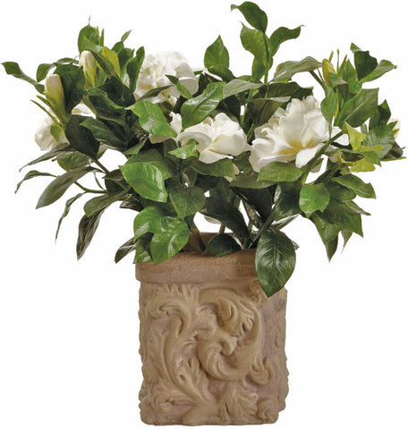 Lifelike White Gardenia Small Flowering Plant - Innovations Designer Home Decor