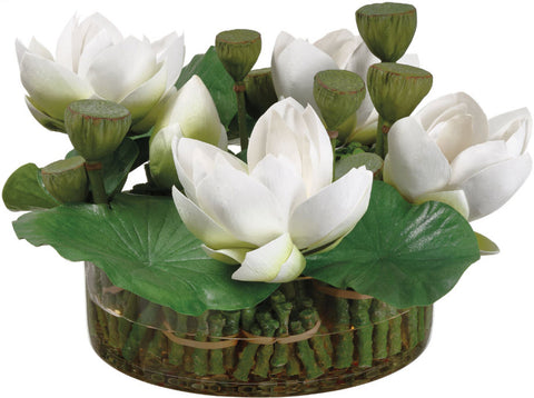 Lifelike White Lotus Flowers Floral Arrangement - Innovations Designer Home Decor