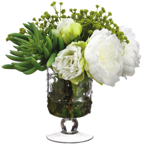 Lifelike White Peony Mixed Floral Arrangement - Innovations Designer Home Decor