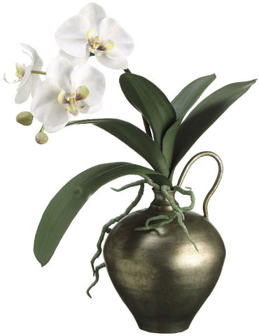 Lifelike White Phalaenopsis Orchid in Bronze Vase - Innovations Designer Home Decor