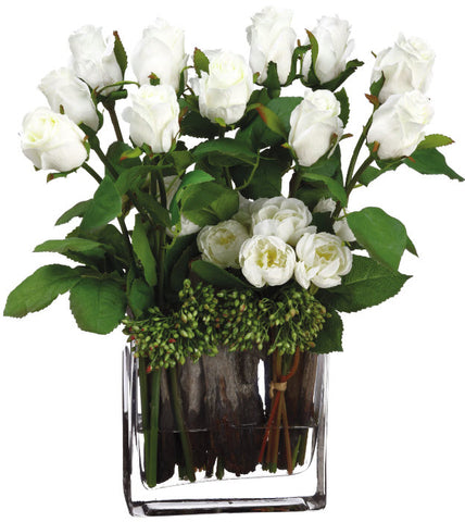 Lifelike White Rose & Ranunculus Floral Arrangement - Innovations Designer Home Decor