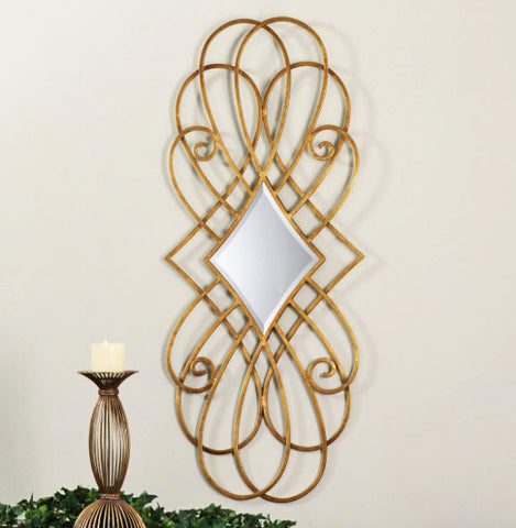 Lilou Antiqued Gold Decorative Wall Mirror - Innovations Designer Home Decor