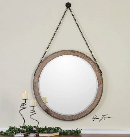 Loughlin round Wood Wall Mirror - Innovations Designer Home Decor