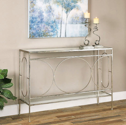 Luano Contemporary Antique Silver Console Table - Innovations Designer Home Decor