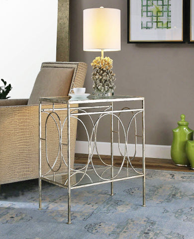 Luano Distressed Antique Silver Accent Table - Innovations Designer Home Decor
