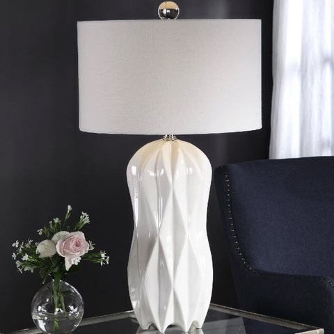 Malena Glossy White Ceramic Table Lamp - Innovations Designer Home Decor