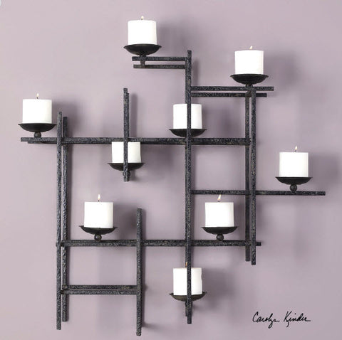 Marni Contemporary 9 Candle Iron Wall Sconce - Innovations Designer Home Decor