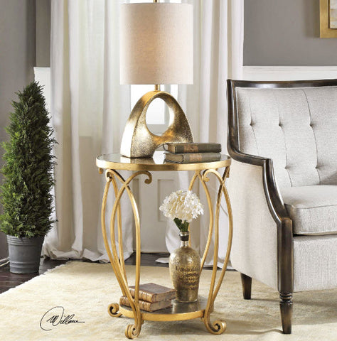 Martella Gold Leaf Round Accent Table - Innovations Designer Home Decor