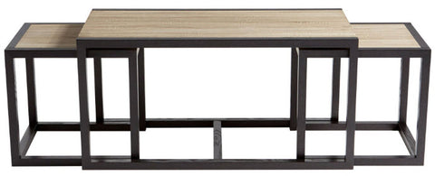 Melies Oak & Black Iron Nesting Coffee Tables - Innovations Designer Home Decor