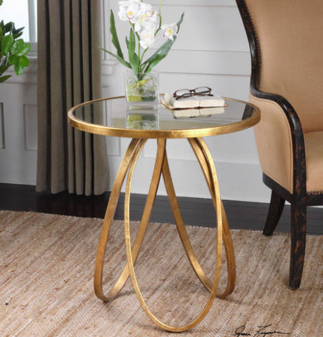 Montrez Gold Leaf Round Accent Table - Innovations Designer Home Decor