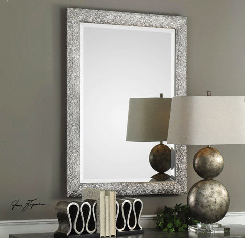 Mossley Textured Metallic Silver Wall Mirror - Innovations Designer Home Decor