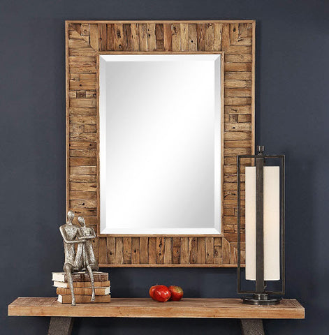 Nalani Rustic Reclaimed Wood Wall Mirror - Innovations Designer Home Decor
