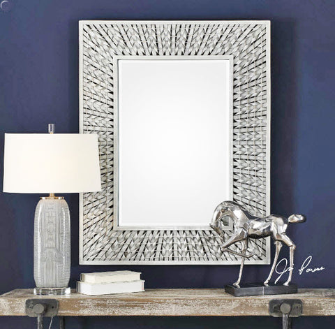 Narmada Gray Woven Bamboo Framed Rectangular Wall Mirror - Innovations Designer Home Decor