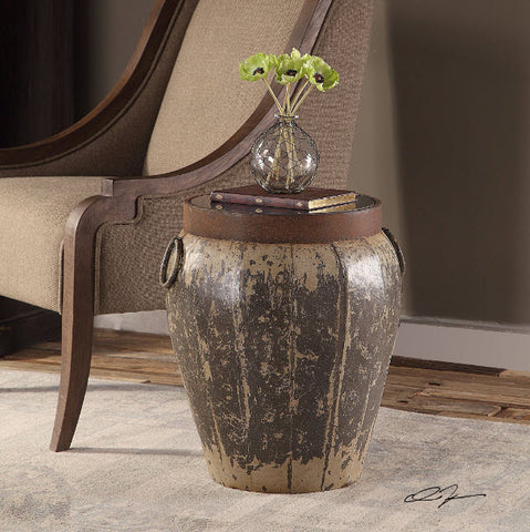 Neith Rustic Aged Metal Round Drum Accent Table - Innovations Designer Home Decor