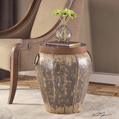 Neith Rustic Round Drum Accent Table - Innovations Designer Home Decor