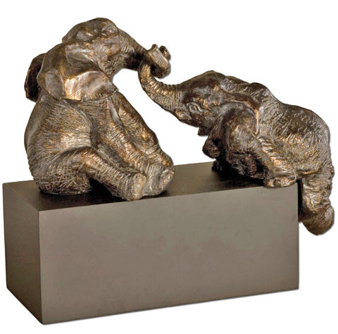 Playful Pachyderms Bronze Sculpture - Innovations Designer Home Decor