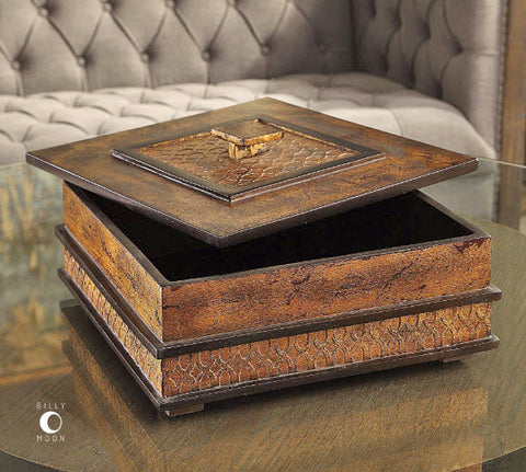 Ray Heavily Antiqued Gold Leaf Decorative Box - Innovations Designer Home Decor