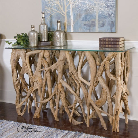 Reclaimed Teak Wood & Glass Console Table - Innovations Designer Home Decor