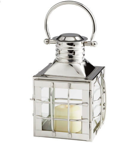 Remington Small Nickel Lantern Candleholder - Innovations Designer Home Decor