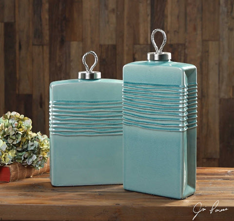 Rewa Aquamarine Decorative Containers, Set of 2 - Innovations Designer Home Decor