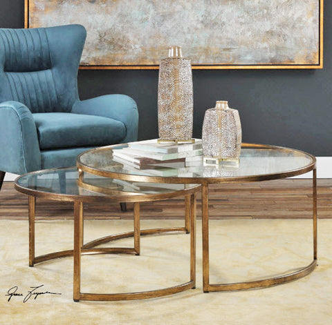 Rhea Mid-century Modern Antiqued Gold Nesting Coffee Tables - Innovations Designer Home Decor
