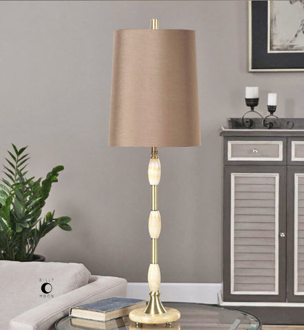 Richland Ivory Marble & Brushed Brass Table Lamp - Innovations Designer Home Decor
