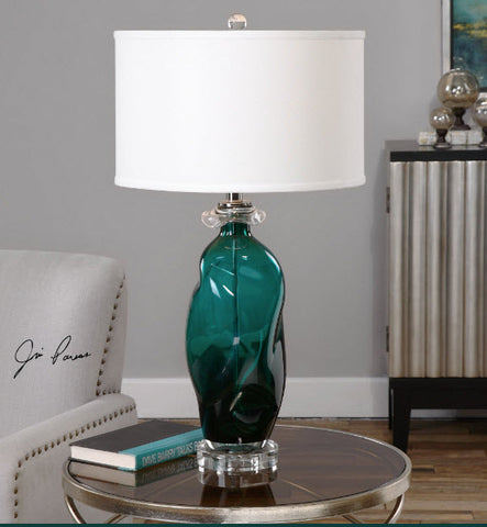 Rotaldo Contemporary Teal Glass Table Lamp - Innovations Designer Home Decor