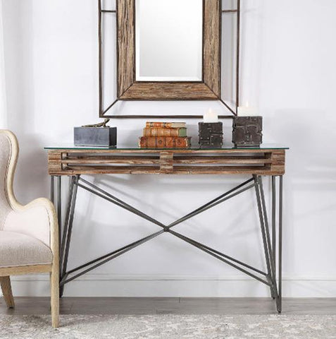 Ryne Industrial Distressed Wood & Iron Console Table - Innovations Designer Home Decor