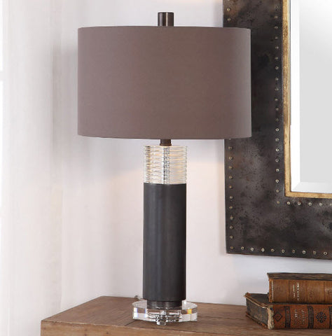 Ryne Oxidized Bronze and Ribbed Crystal Table Lamp - Innovations Designer Home Decor